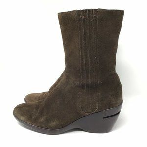COLE HAAN AIR SOLE Suede Brown Wedge Boots Size 9